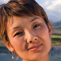 Nasira Abdykadyrova, a female voice-over talent Kyrgyz Language bearer